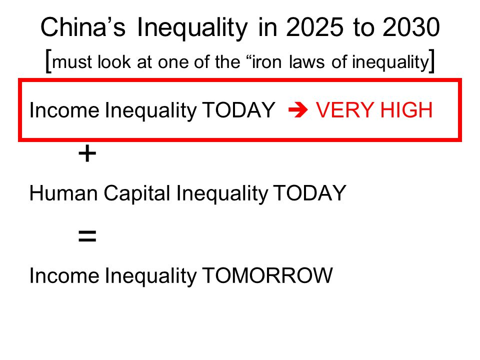 China's Inequality in 2025 to 2030 [must look at one of the iron laws of inequality]